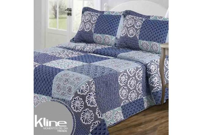 Cubrecama King K-LINE Flores y Ondas Azules estampado microfibra 100%