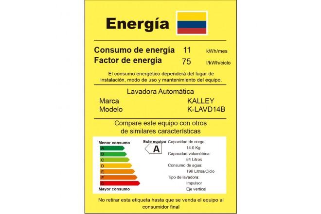 Lavadora KALLEY 14KG KYLAVD14B Blanco