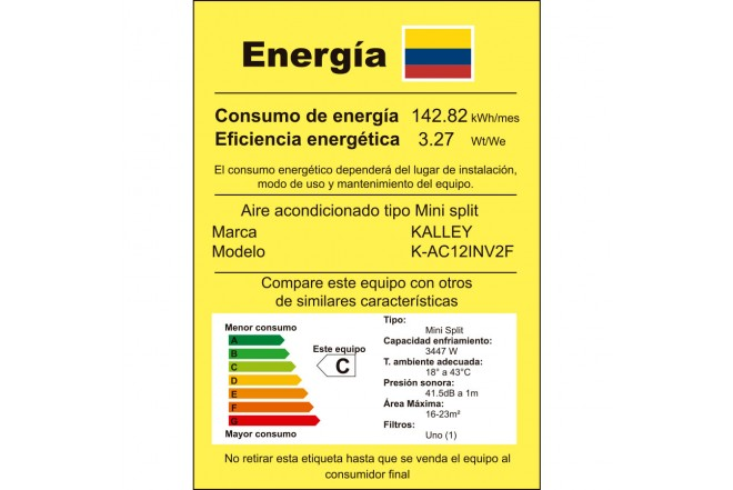 Aire Acondicionado K-AC12INV2F etiqueta RETIQ