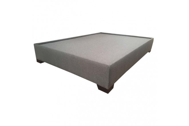 Base Cama Doble 144 x 194 x 32 cm TUKASA Tela Borde triada Gris