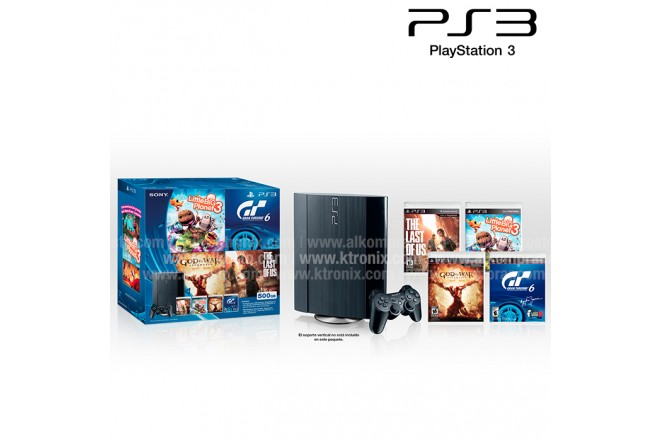 Bundle Estado Play - consola PS3 500GB Negra + 1 Control DualShock 3 + 4 Juegos