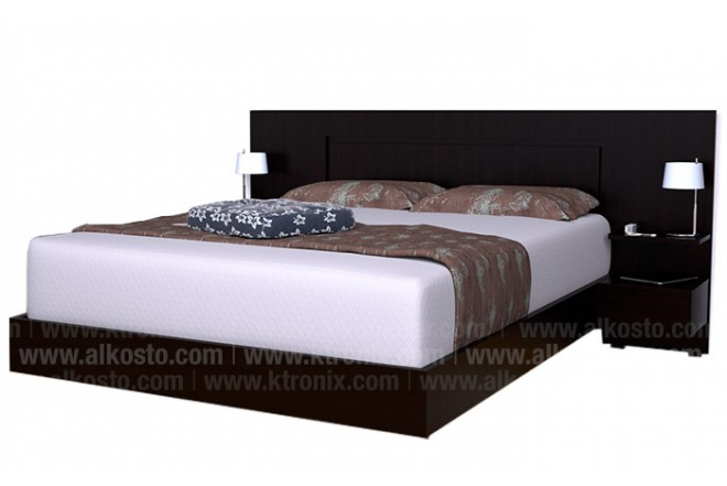 Cama doble maderkit 00667 ca w r wengue alkosto tienda online for Cama wengue