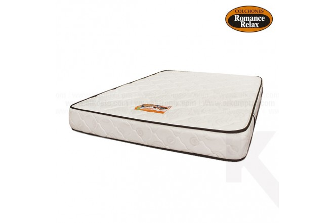 Colchon de espuma Carey doble 140x190X20 blanco con sesgos en contraste chocolate