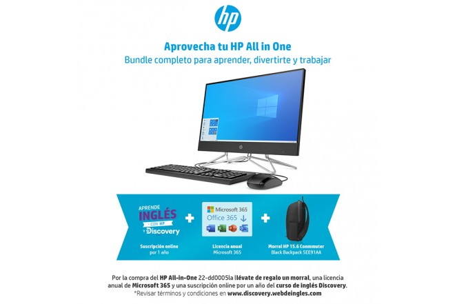 "Computador All In One HP 22"" Pulgadas 22-dd0005la Intel Core i3 + Office 365 Personal + Morral + Curso de Inglés Discovery  4 GB RAM- Disco Duro 1TB-Negro_3"
