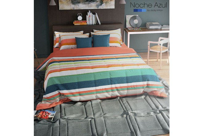 Comforter Extradoble NOCHE AZUL CHRISTOPHER RED 144 Hilos