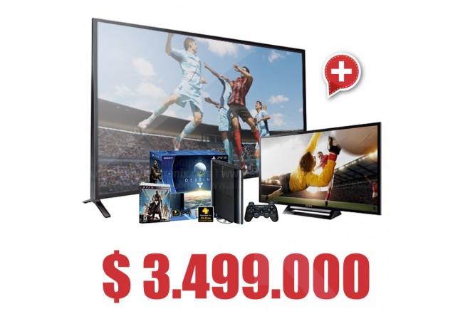 """Compra Tv 55' LED SONY  55W957BF Full HD INTERNET y lleva Gratis Consola PS3 500GB + Juego Destiny y Tv 32"""" LED SONY 32R427B HD"""