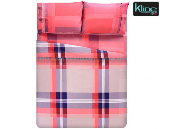 Juego de cama K-LINE estampado cuadros doble 144 hilos algodón 100%