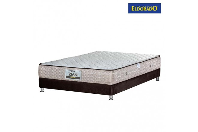 KOMBO ELDORADO: Colchón  Zian 100x190 cms Resortado + Base Cama Nova Chocolate