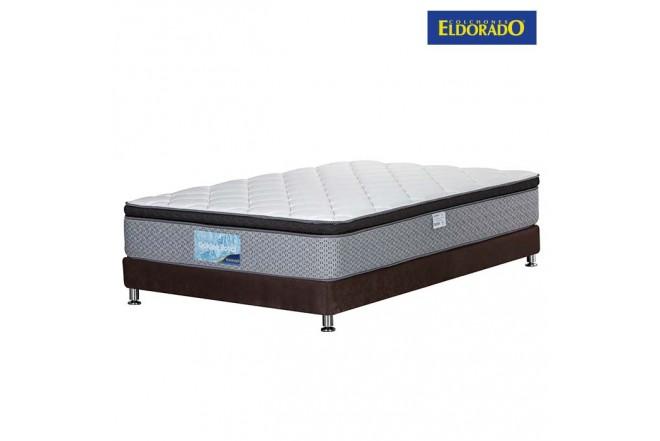 KOMBO ELDORADO: Colchón Semidoble Golden Royal 120x190x30 cm + Base Cama Nova Café 120x190
