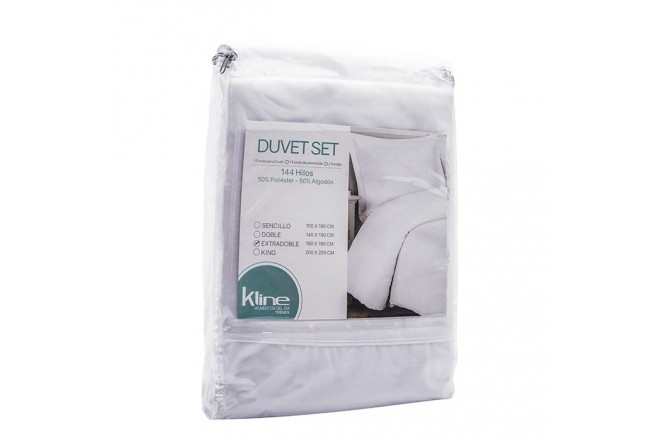 Duvet K-LINE Extradoble Sesgo Blanco 144 hilos