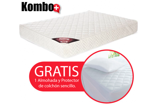 KOMBO: Colchón de Resorte SPRING Emotion New One Sencillo GRATIS Almohada y protector
