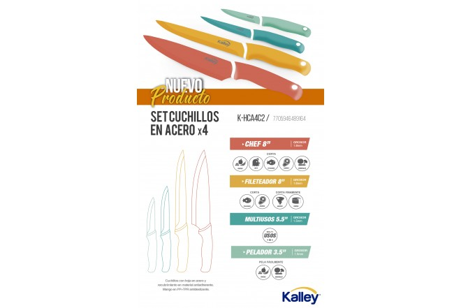 Cuchillos Acero Set X4 KALLEY K-HCA4C2 2