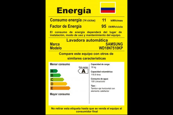 Lavadora Secadora SAMSUNG 18kg WD18N7510KP 8