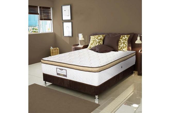 KOMBO ELDORADO: Colchón Resortado Queen Florence 160 x 190 cm + Base Cama Nova Chocolate
