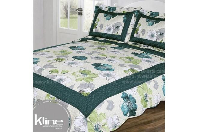Cubrecama K-LINE Queen Flores Verdes Microfibra