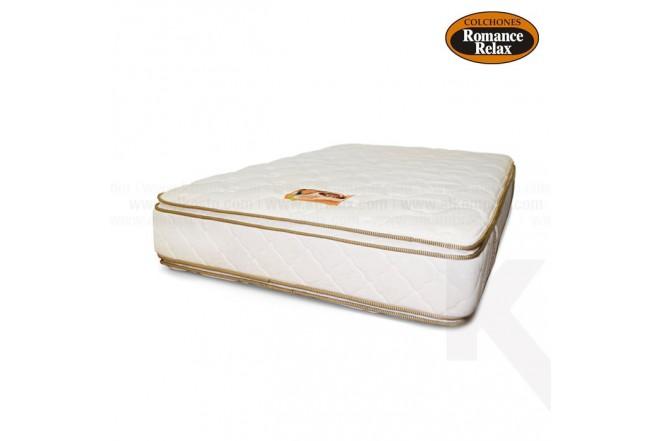 Colchón de espuma Jade king 200x200x28 cms blanco sesgos en contraste café pillow x ambos lados