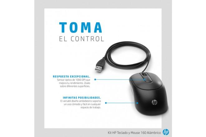 Combo HP Alámbrico Teclado + Mouse 160