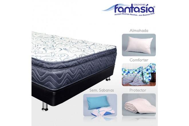 KOMBO FANTASÍA: Colchón Doble Blue Optims + Base cama + Kit de Lencería  140x190 cms