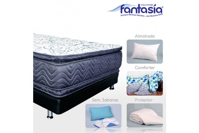 KOMBO FANTASÍA: Colchón Semidoble Blue Plasencci + Base cama + Kit de Lencería  120x190 cms