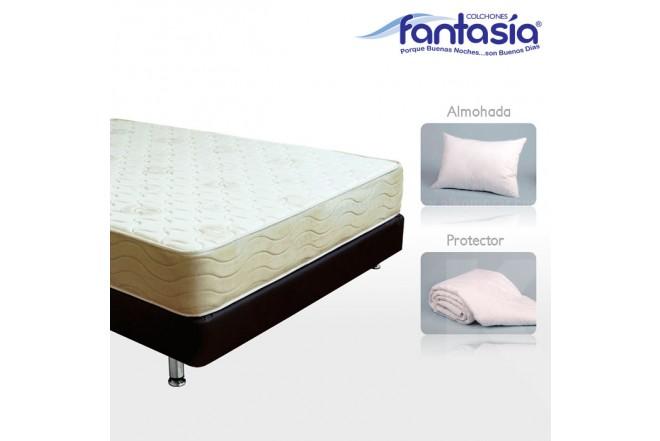 KOMBO FANTASÍA: Colchón Doble Marfil Lexus + Base cama + Protector  + Almohadas 140x190 cms