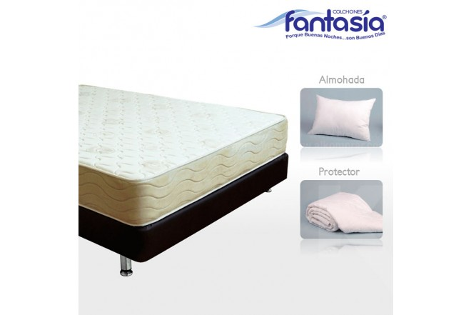 KOMBO FANTASÍA:Colchón Sencillo Marfil Lexus + Base cama + Protector  + Almohadas 100x190 cms