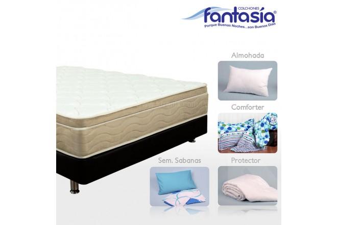 KOMBO FANTASÍA: Colchón Semidoble Marfil Optims + Base cama + Kit de Lencería  120x190 cms