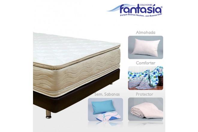 KOMBO FANTASÍA: Colchón Doble Marfil Plasencci + Base cama + Kit de Lencería  140x190 cms