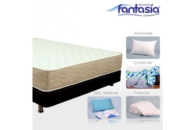 KOMBO FANTASÍA: Colchón Semidoble Marfil Restek + Base cama + Kit de Lencería  120x190 cms