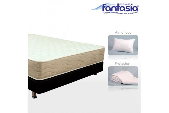 KOMBO FANTASÍA: Colchón Doble Marfil Restek + Base cama + Protector  + Almohadas 140x190 cms