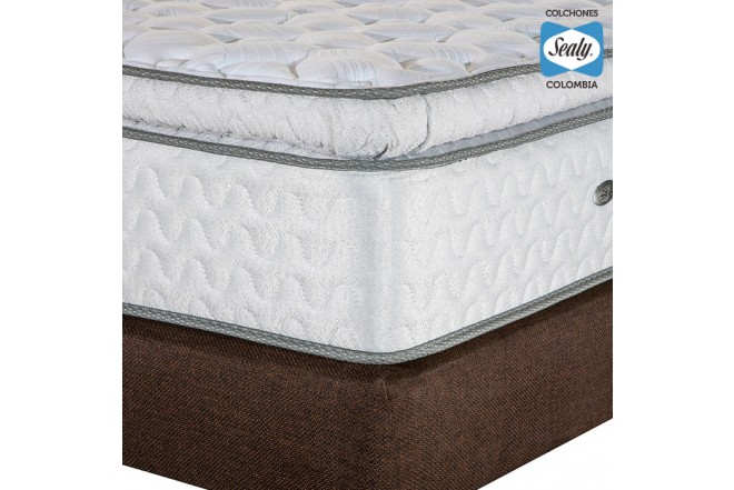 KOMBO SEALY: Colchón Doble Supreme Firm 140x190x32 cm + Base cama Duken Marrón