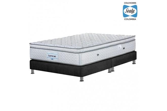 KOMBO SEALY: Colchón Doble Supreme Firm 140x190x32 cm + Base cama Duken Negra