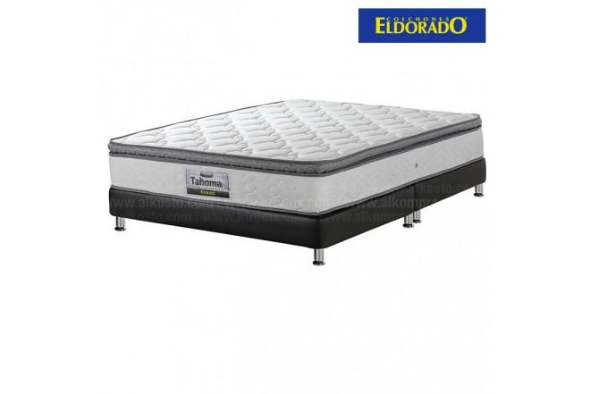 KOMBO ELDORADO: Colchón Doble Tahoma 140x190 cms Resortado + Base Cama Dividida Nova Negra