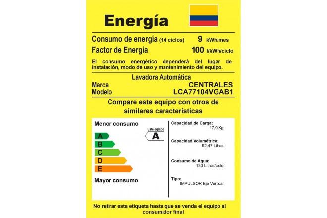 Lavadora CENTRALES 17 Kg LCA77104VGAB1 Gris