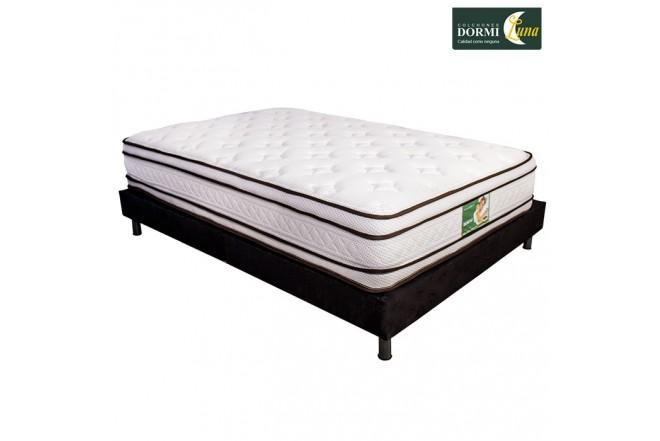 KOMBO: Colchón de resortes DORMILUNA Mercurio Top Semidoble +  Base cama Semidoble