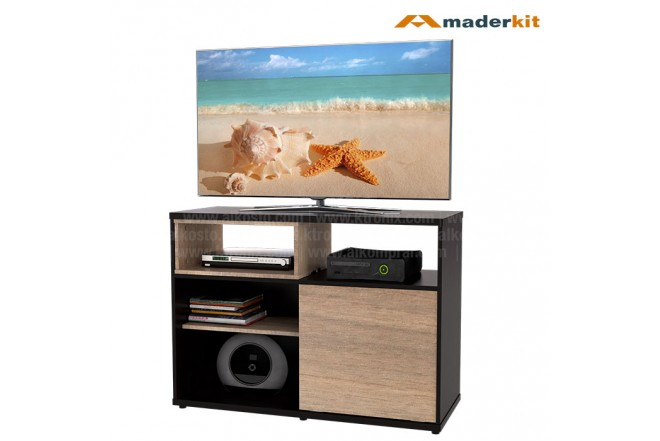 "Mesa TV 42"" MADERKIT Puerta corrediza Wengue / Espresso"