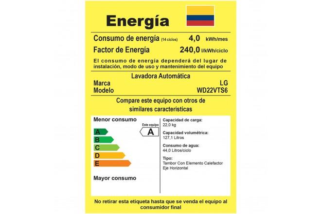 Lavadora / Secadora LG CF 22 Kg WD22VTS6 Inox 6Motion™ DD 12
