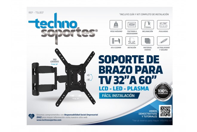 "Base de Brazo TECHNOSOPORTES Esqualizable 37"" a 60"""
