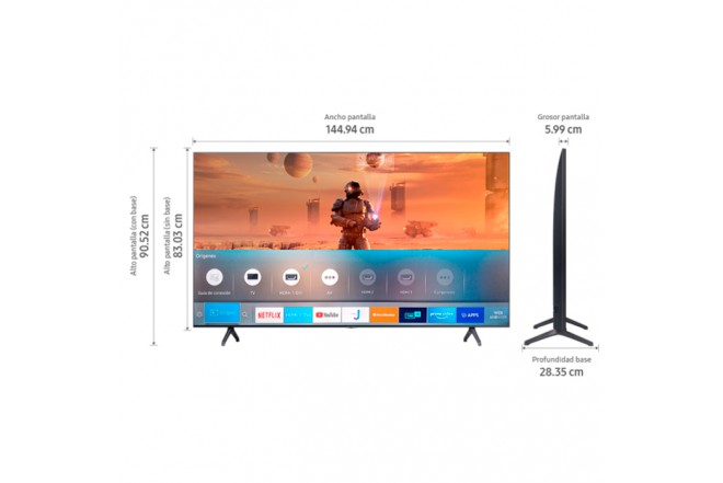"TV SAMSUNG 65"" Pulgadas 165cm 65TU7000 LED 4K-UHD Plano Smart TV 5"