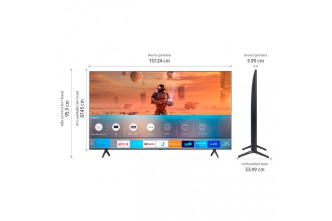 "TV SAMSUNG 70"" Pulgadas 177 cm 70TU7000 LED 4K-UHD Plano Smart TV 5"