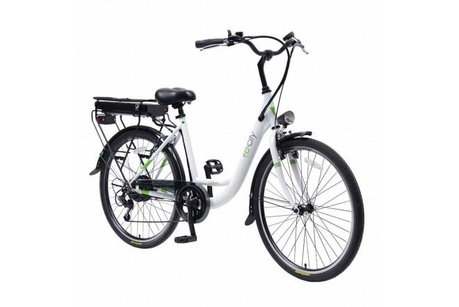 Bicicleta E-city Urbana 250W blanca
