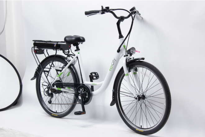 Bicicleta E-city Urbana 250W blanca-d