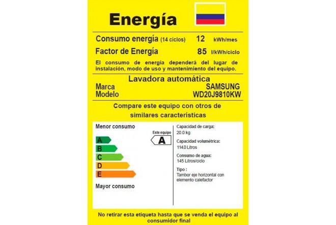 Lavadora / Secadora SAMSUNG 20Kg WD20J9810KW Blanca