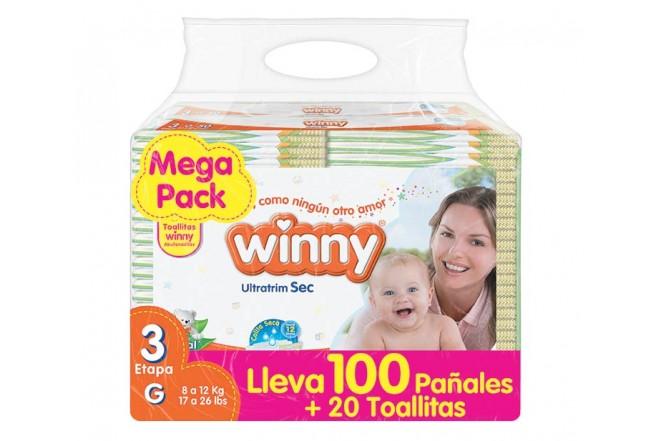 Pañal WINNY Sec Etapa 3 Caja 100 + 20 Toallitas PRECIO ESPECIAL