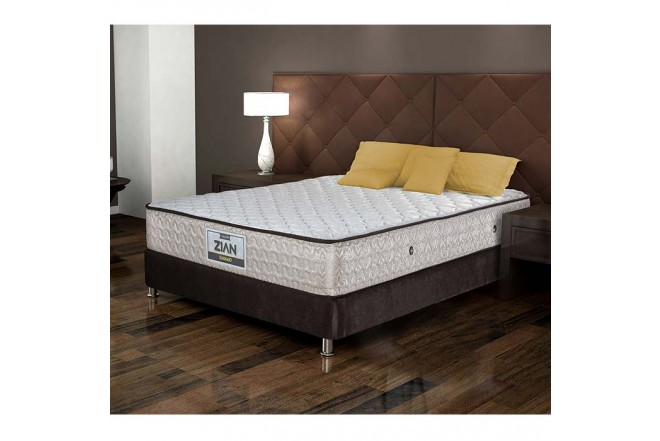 KOMBO ELDORADO: Colchón Resortado Doble Zian 140 x 190 cm + Base Cama Nova Chocolate