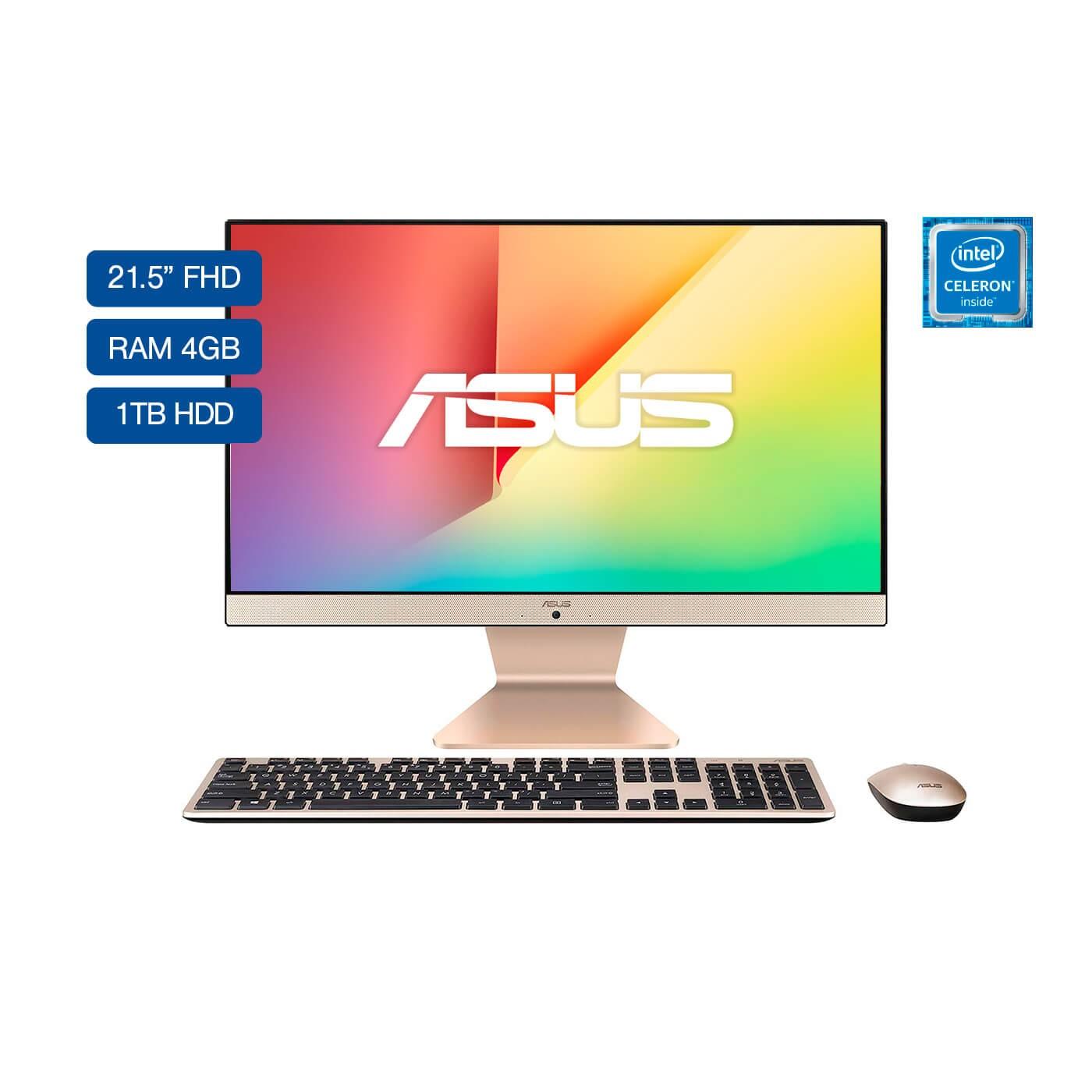 "All In One ASUS Vivo AIO 21,5"" Pulgadas V222GAK-BA249T Intel Celeron 4GB RAM Disco Duro 1TB Negro"
