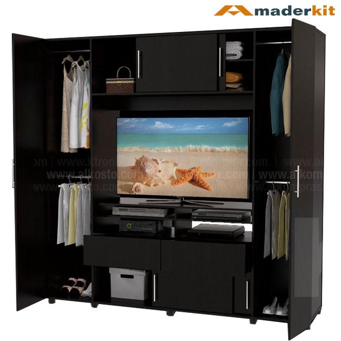 Armario tv maderkit dupla 6 puertas 00840 cl w r alkosto - Como hacer puertas de armario ...