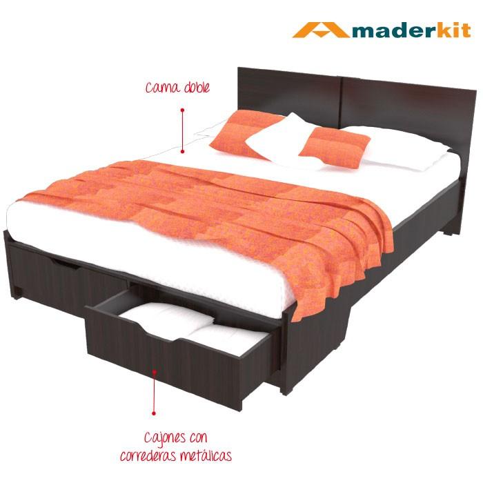 Cama Doble MADERKIT Wengue 1160-CA-W-R Alkosto Tienda Online