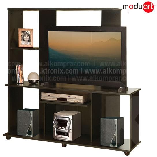Centro de entretenimiento moduart l nea laser wengue 18077 for Muebles para televisor y equipo de sonido