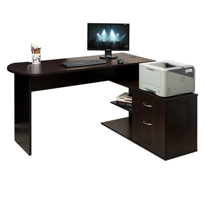 Escritorio en l moduart wengue alkosto tienda online for Muebles de oficina wengue
