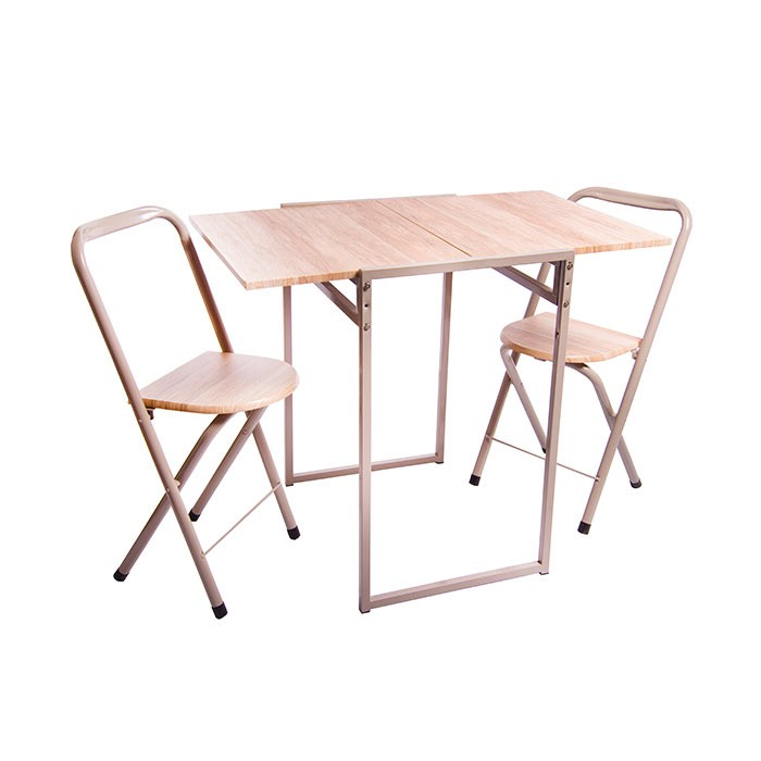 Mesa comedor 2 sillas tukasa plegable beige alkosto for Mesa comedor plegable